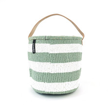 Basket- Small- White & Light Green Wide Striped-One Handle-Sisal/Plastic-Kiondo (Kenya)