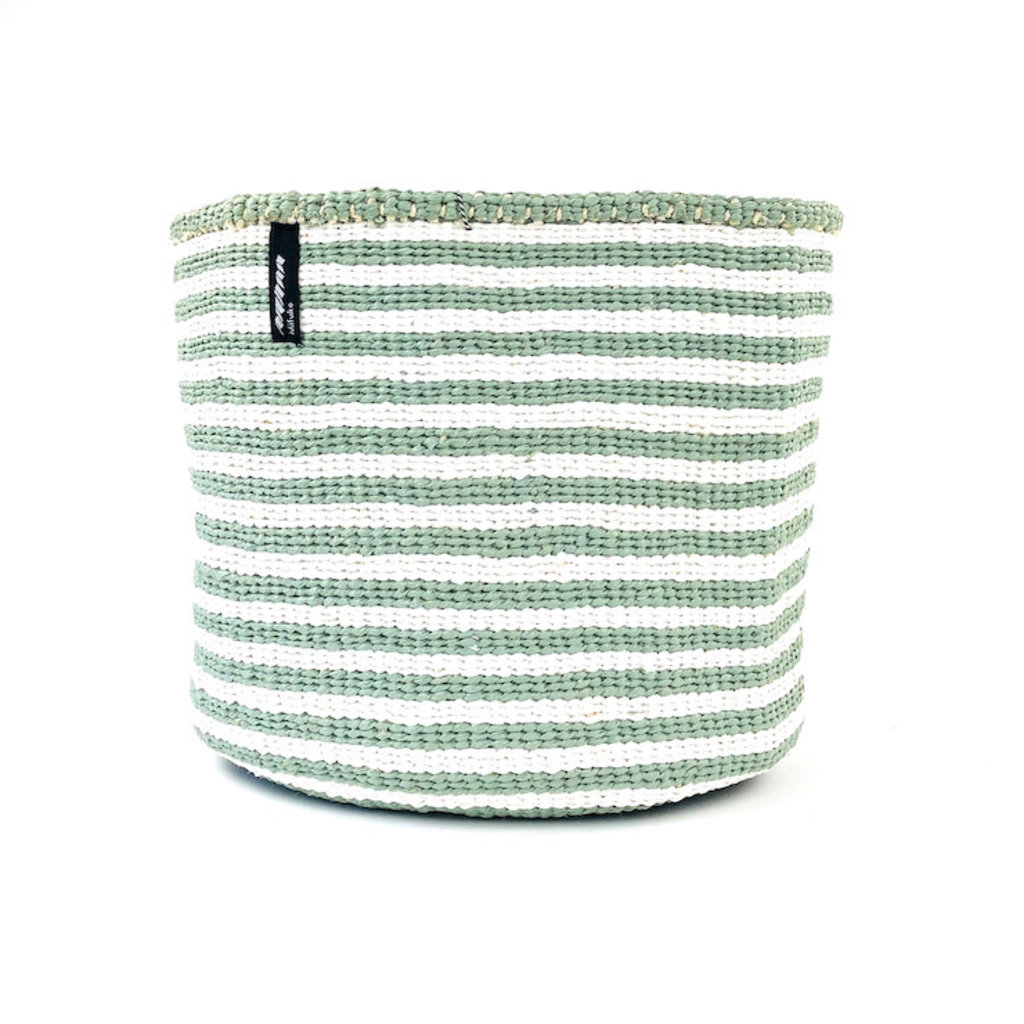 Basket- Medium-White & Light Green Thin Stripes-Sisal/Plastic-Kiondo (Kenya)