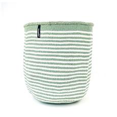Basket- Large-White & Light Green Thin Stripes-Sisal/Plastic-Kiondo (Kenya)