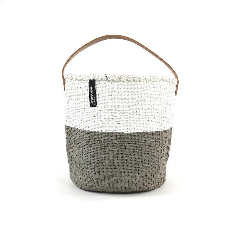 Basket- Small- 50/50-White & Warm Grey-One Handle-Tote-Sisal/Plastic-Kiondo (Kenya)
