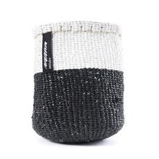 Basket- Extra Small-White & Black 50/50-Sisal/Plastic-Kiondo (Kenya)