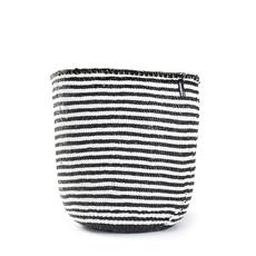 Basket- Large-White & Black Thin Stripes-Sisal/Plastic-Kiondo (Kenya)