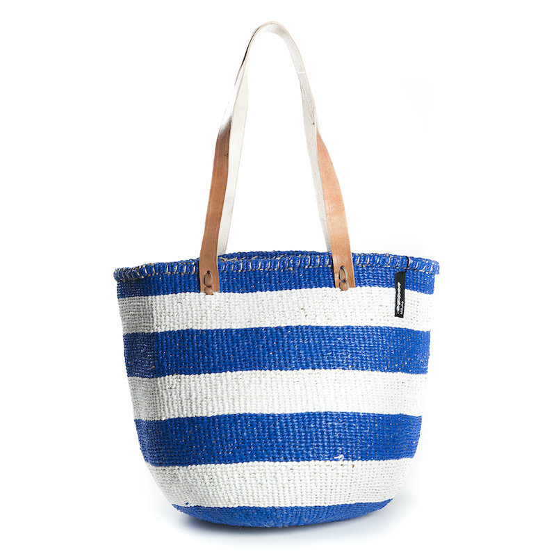 Shoulder Bag -Medium-Thick White & Blue Stripes-Sisal/Plastic-Kiondo (Kenya)