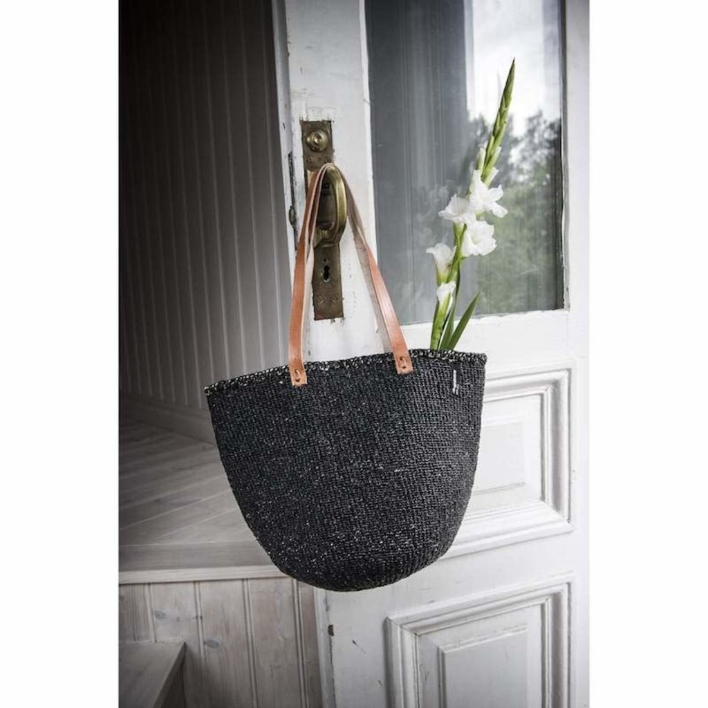 Basket- Shoulder Medium-Black-Sisal/Plastic-Kiondo (Kenya)