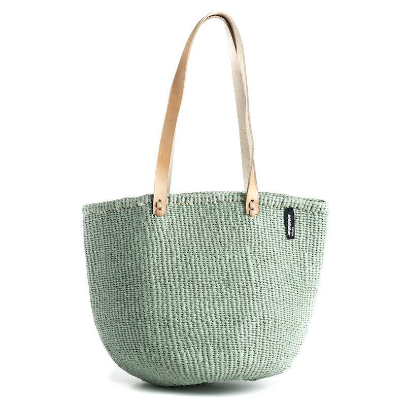 Basket- Shoulder-Medium-Light Green-Sisal/Plastic-Kiondo- (Kenya)