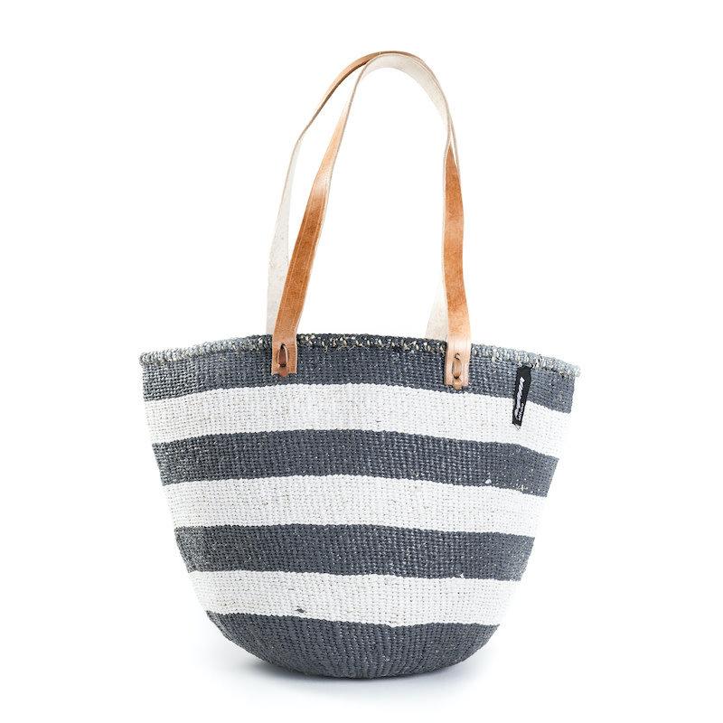 Shoulder Bag- Medium-Thick Grey & White Stripes-Sisal/Plastic-Kiondo (Kenya)