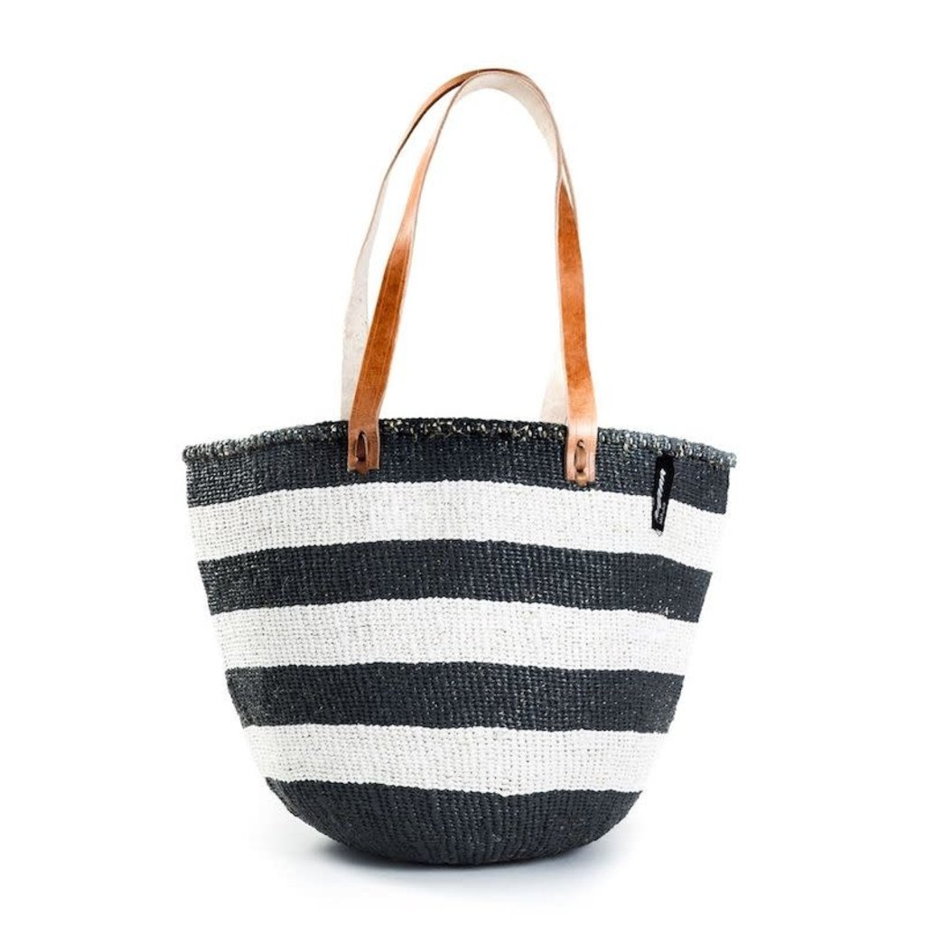 Shoulder Bag- Medium-Thick White & Black Stripes-Sisal/Plastic-Kiondo (Kenya)