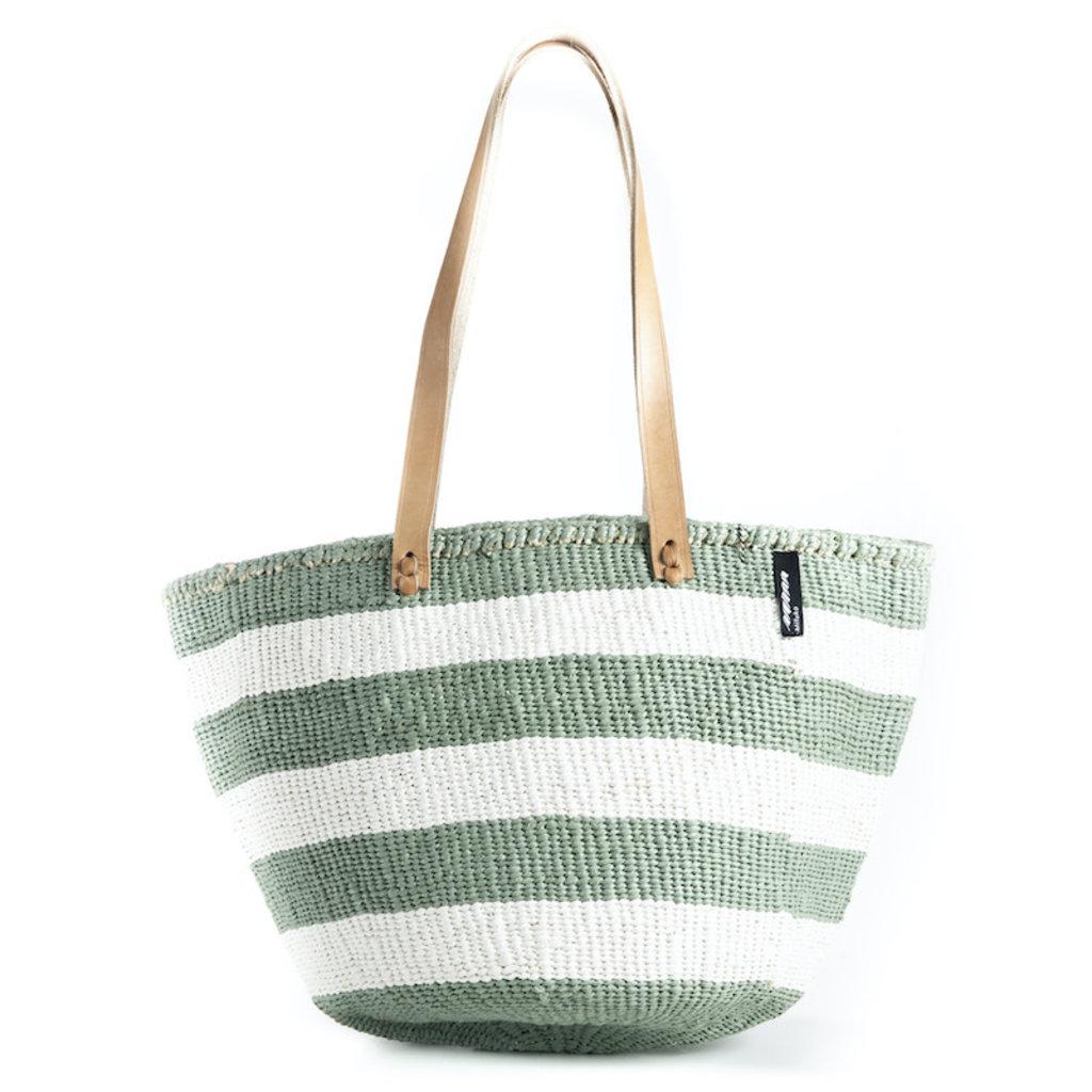 Shoulder Bag- Medium-Thick White & Light Green Stripes-Sisal/Plastic-Kiondo-(Kenya)