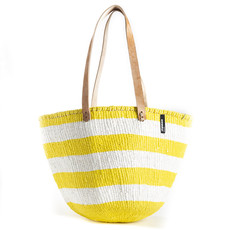 Shoulder Bag- Medium-Thick White & Yellow Stripes-Sisal/Plastic-Kiondo Kenya)