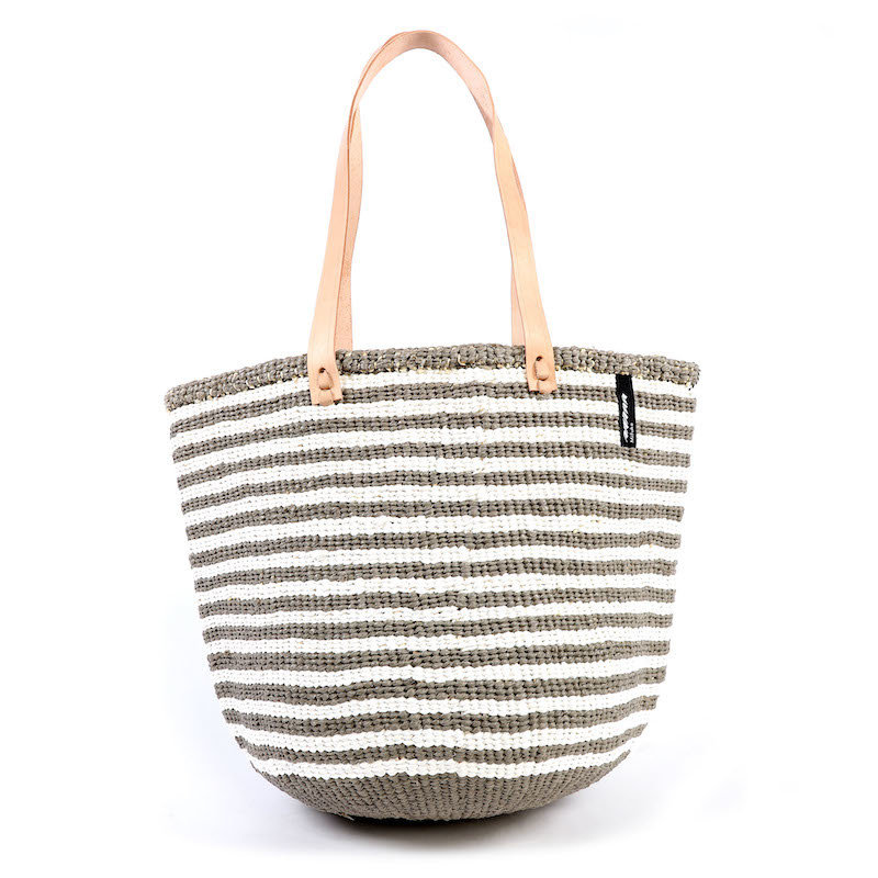 Shoulder Bag- Medium-Thin Warm Grey & White Stripes-Sisal/Plastic-Kiondo (Kenya)