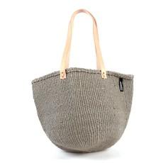 Shoulder Bag- Medium-Warm Grey-Sisal/Plastic-Kiondo (Kenya)