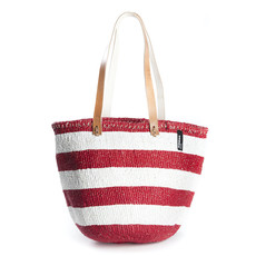 Shoulder Bag- Medium-White & Red Stripes-Kiondo-C(Kenya)