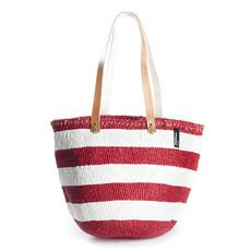 Shoulder Bag- Medium-White & Red Stripes-Kiondo-Sisal/Plastic (Kenya)