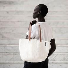 Basket- Shoulder Medium-White-Sisal/Plastic-Kiondo (Kenya)