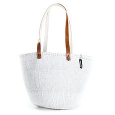 Shoulder Bag- Medium-White-Sisal/Plastic-Kiondo (Kenya)