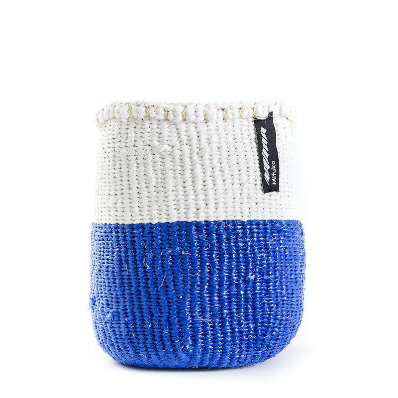 Basket- Extra Small-White & Blue 50/50-Sisal/Plastic-Kiondo (Kenya)