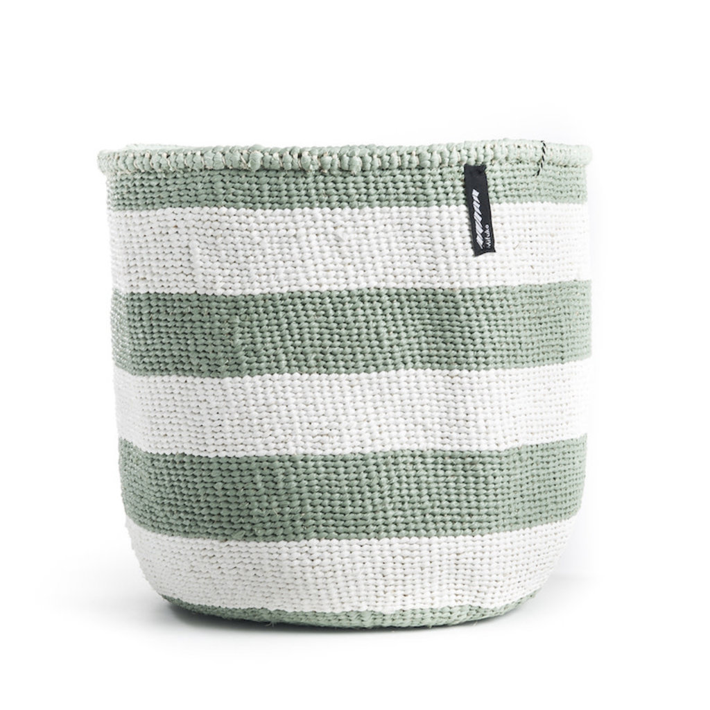 Basket- Medium-Thick White & Light Green Stripes-Sisal/Plastic-Kiondo (Kenya)