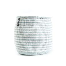 Basket- Small- White & Light Blue Thin Stripes-Sisal/Plastic-Kiondo (Kenya)