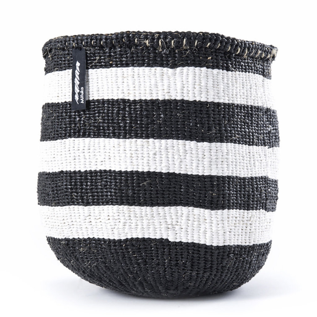 Basket- Small-Thick White & Black Stripes-Sisal/Plastic-Kiondo (Kenya)