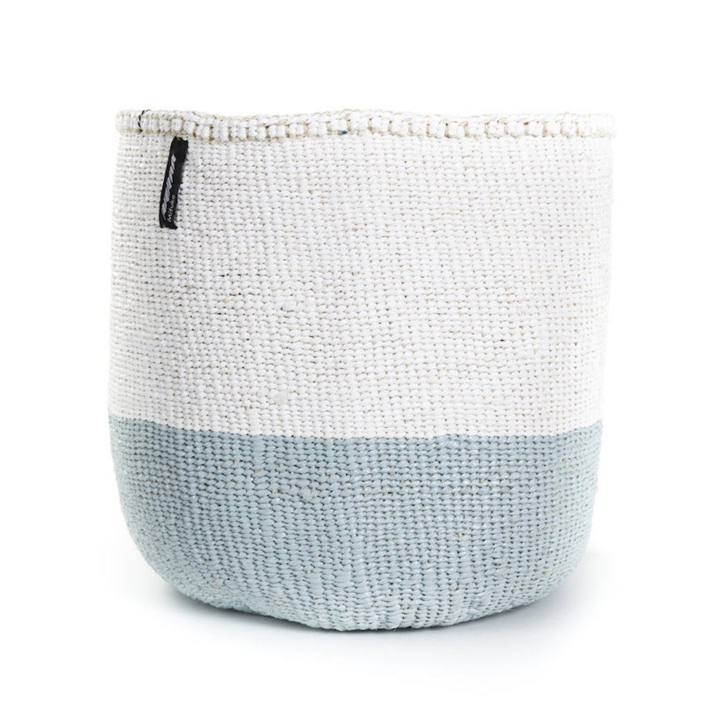 Basket- Medium-White & Light Blue 50/50-Sisal/Plastic-Kiondo (Kenya)