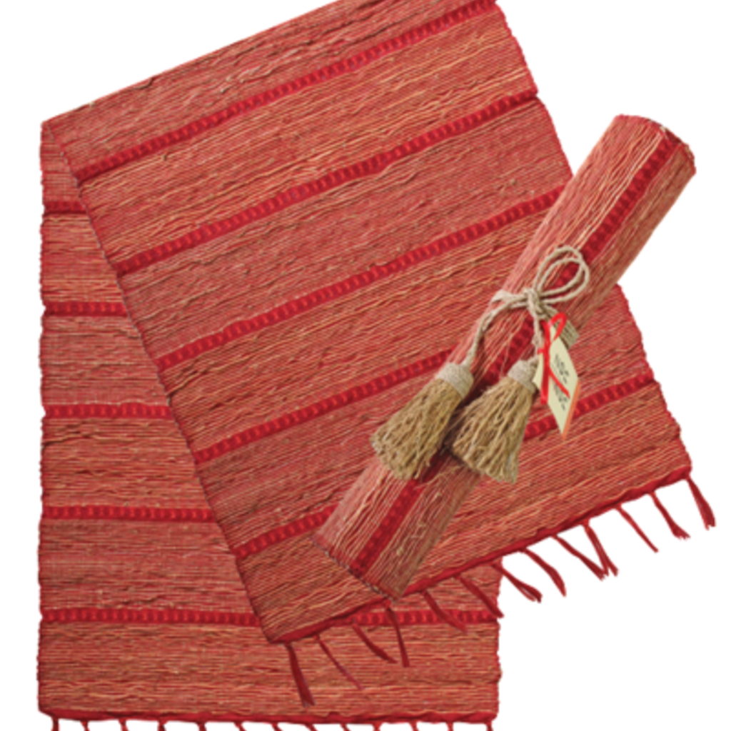 Runner- Table-Vetiver-Stripes-Red-Persimmon (Indonesia)