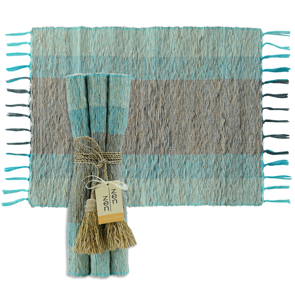 Placemats- Vetiver-Turquoise-Grey-Stripes-Set/6 (Indonesia)