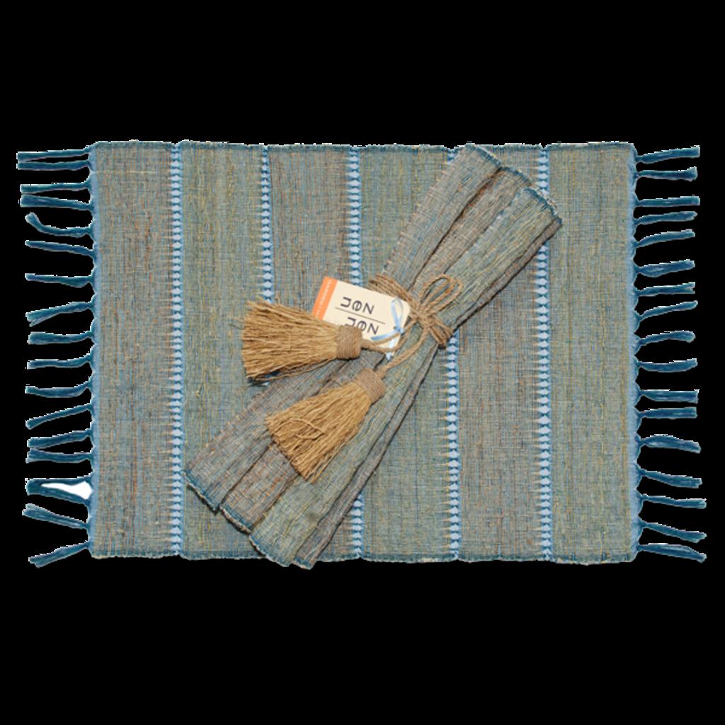 Placemats- Table-Vetiver-Stripes-Indigo-Set/6  (Indonesia)