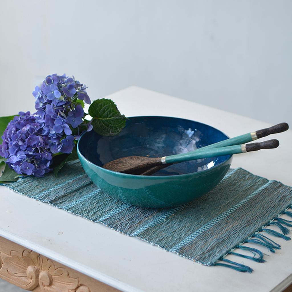 Salad Bowl- Capiz Shell-Water-Blue (Indonesia)
