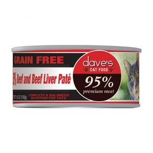Dave's Dave's Cat 95% Beef & Beef Lvr Pate 5.5oz