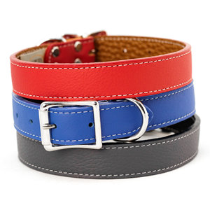 Auburn Tuscan Leather Buckle Collar Bright Red