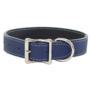 Auburn Tuscan Leather Buckle Collar Navy Blue