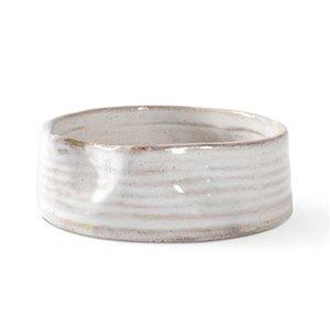 Fringe Ribbed White Pinched Stonewear Bowls