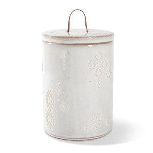 Fringe Tribal Marks White Stonewear Treat Jar