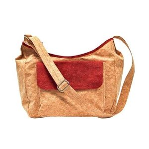 Bark N Bag Saddle Bag Cork Natural/Maroon