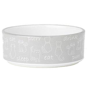"""Playful Pet Eat, Drink, Purr 5"""" Cat Bowl"""