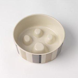 """Metro Stripes 7"""" Slow Feed Stonewear Bowl"""