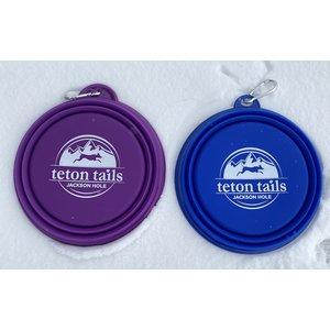 """Collapsible Pet Bowl 7"""" Teton Tails logo"""