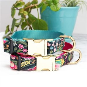 Mimi Green Mimi Green Midge Canvas Floral  Collars & Leads w brushed hybrid buckle