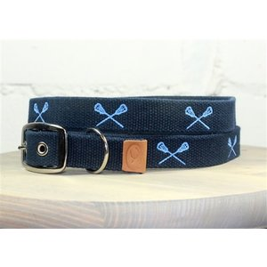 Lacrosse Sticks Embroidered Dog Collars navy