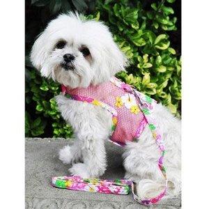 Doggie Design Cool Mesh Harness & Leash Pink Hawaiian Floral