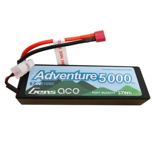 Gens Ace 7.4V 5000mah 2S 100C LIPO hard  Adventure Series Deans