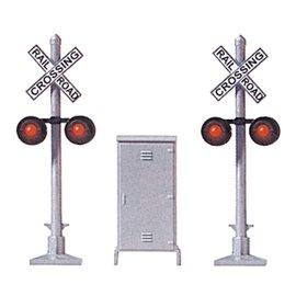 Modelpower RAILROAD CROSSING SIGNAL W/RELAY BOX HO