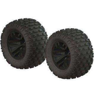 Arrma AR550044 Fortress MT Tire Set Glued Black (2)