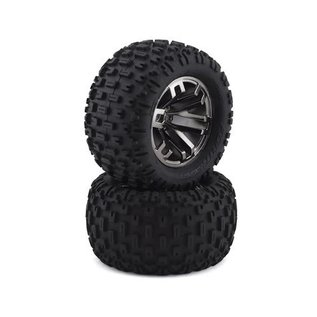 Arrma AR550045 Fortress MT Tire Set Glued Black Chrome (2)