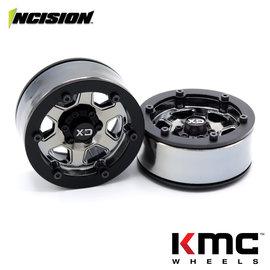 Vanquish Products Incision 1.9 KMC KM233 Hex Black Chrome Plastic
