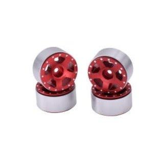Hobby Details Axial SCX24 CNC Aluminum Starfish Colorful Beadlock Wheels 4pcs/set Red