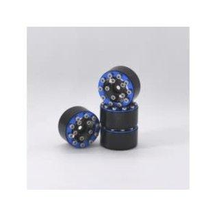 Hobby Details Axial SCX24 CNC Aluminum Screws- Style Beadlock Wheels 4pcs/set Blue