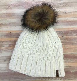 Ganka Ganka 77-040 Laska Acrylic Knit Fleece Pom Pom Ladies'
