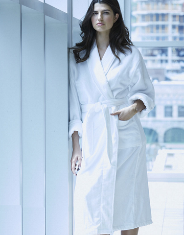 Kayanna Spa Classic Terry Velour Robe M116-400 One Size White