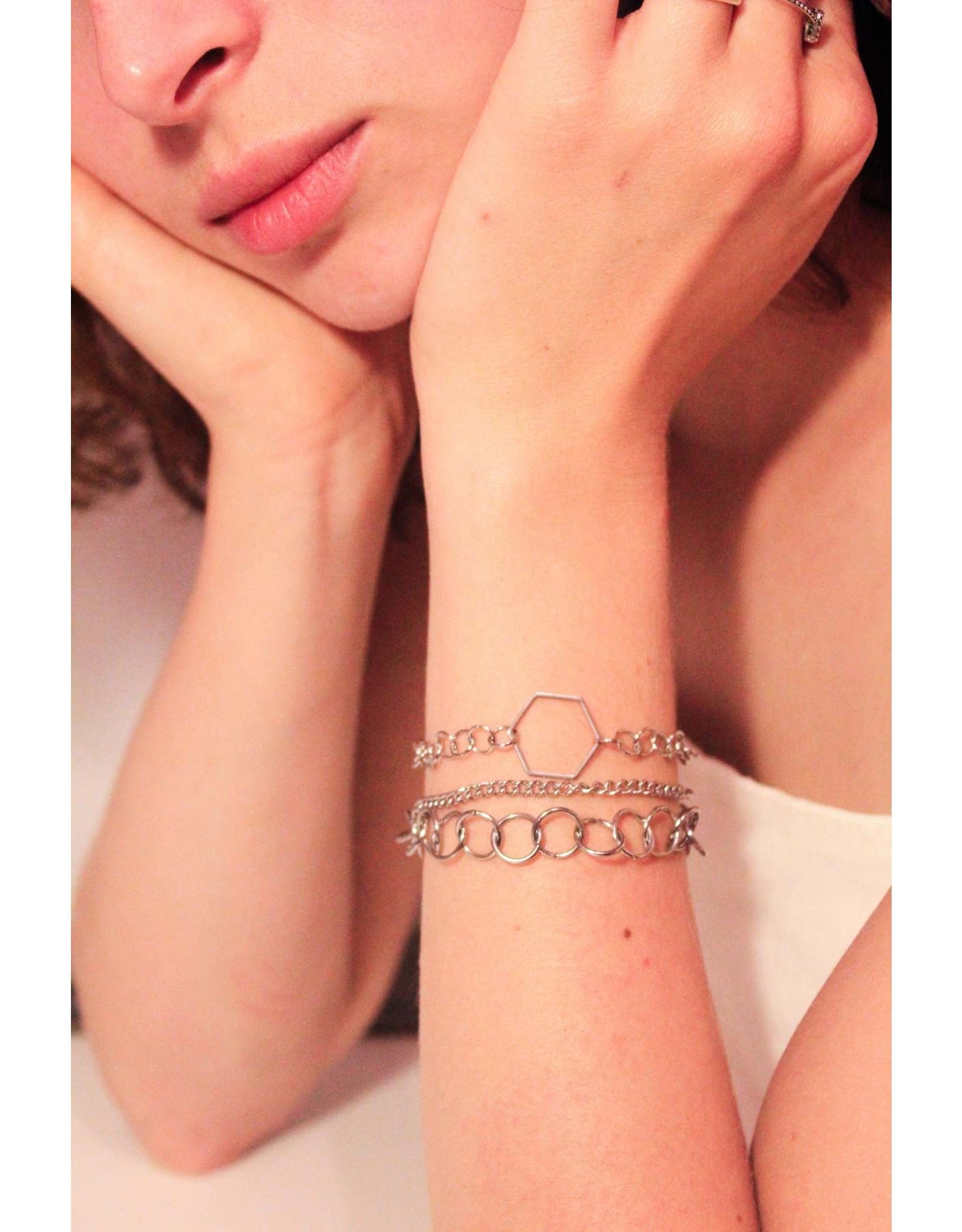 Les pensées bijoux Triple bracelet hexagone